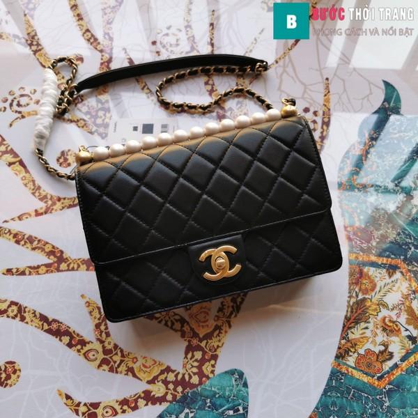 Túi xách Chanel Pearl chanin bag siêu cấp  màu đen size 21 cm - S0585