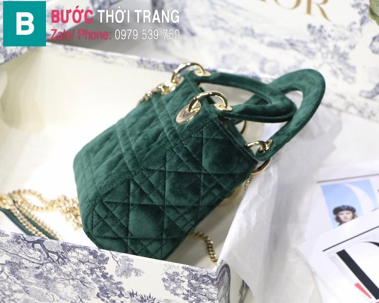Túi xách Dior Lady Mini bag siêu cấp vải canvas màu xanh size 17 cm