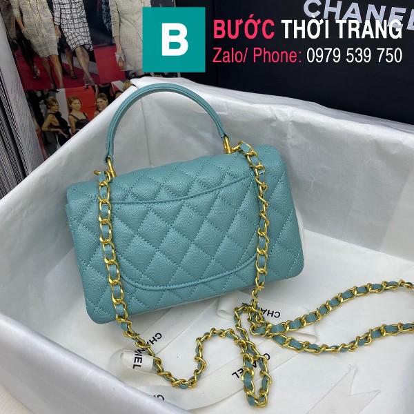 Túi xách Chanel Flap Bag siêu cấp da bê hạt màu xanh size 20cm - AS2431