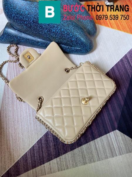 Túi xách Chanel Side Pearl Classic siêu cấp da cừu màu trắng ngà size 23cm - AS1740