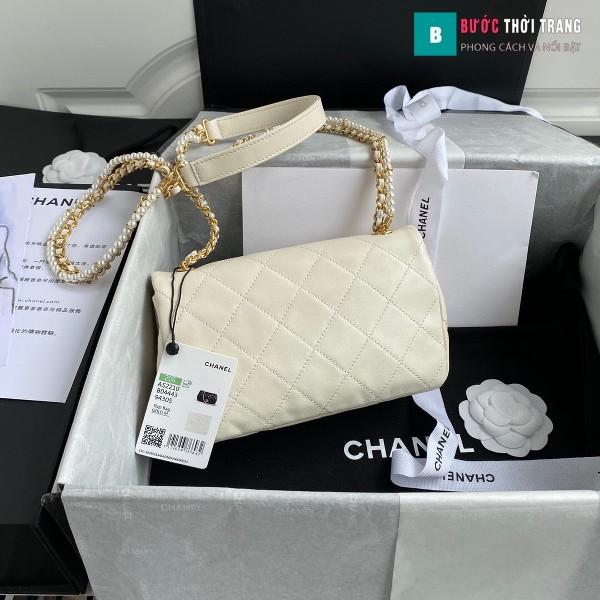 Túi xách Chanel flap shoulder bag siêu cấp màu trắng size 21 cm - AS2210