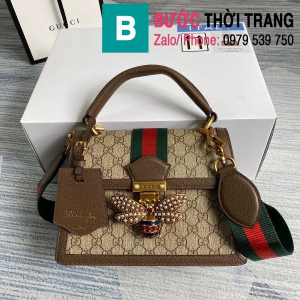 Túi xách Gucci Queen Margaret GG siêu cấp casvan viền nâu size 25.5cm - 476541