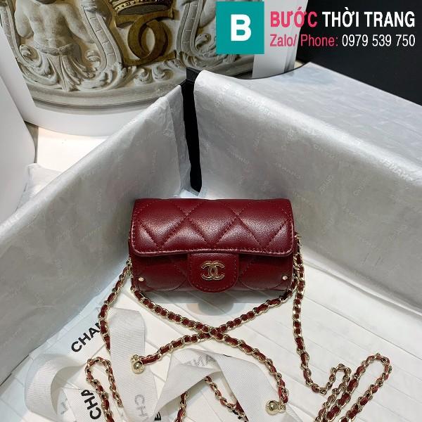 Túi đeo chéo Chanel siêu cấp da bê màu đỏ đô size 11.5cm