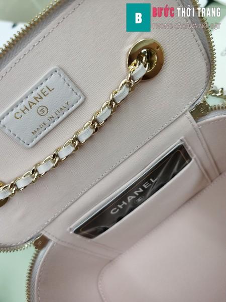 Túi xách Chanel Vanity bag with strap siêu cấp màu hồng nhạt size 16 cm - AP1472y