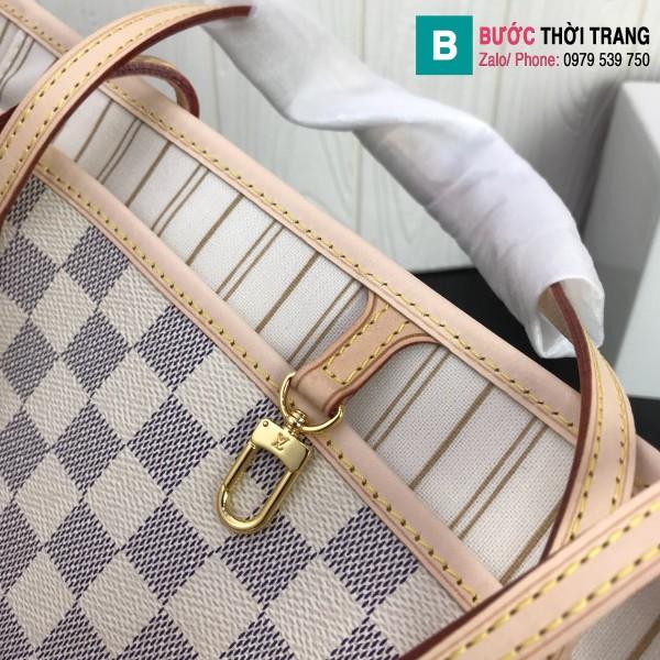 Túi xách Louis Vuitton Neverfull GM siêu cấp màu trắng kẻ cá rô size 40 cm - M41360
