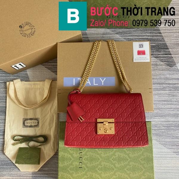 Túi xách Gucci Tian Padlock Shoulder bag siêu cấp màu đỏ size 30cm - 409486