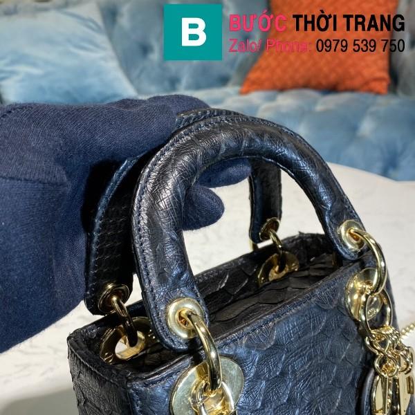 Túi xách Dior Lady siêu cấp da trăn màu đen size 17cm