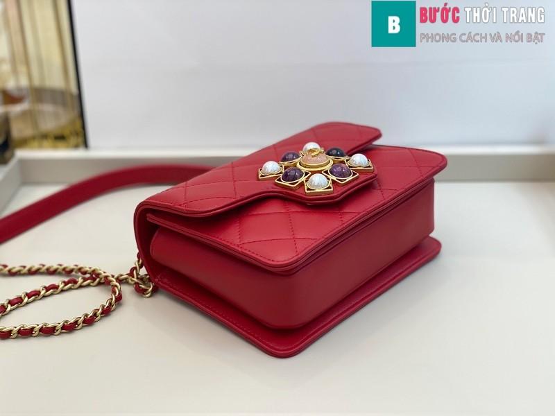 Túi xách Chanel Flap Bag siêu cấp màu trắng đỏ bê size 17.5 cm - AS1889