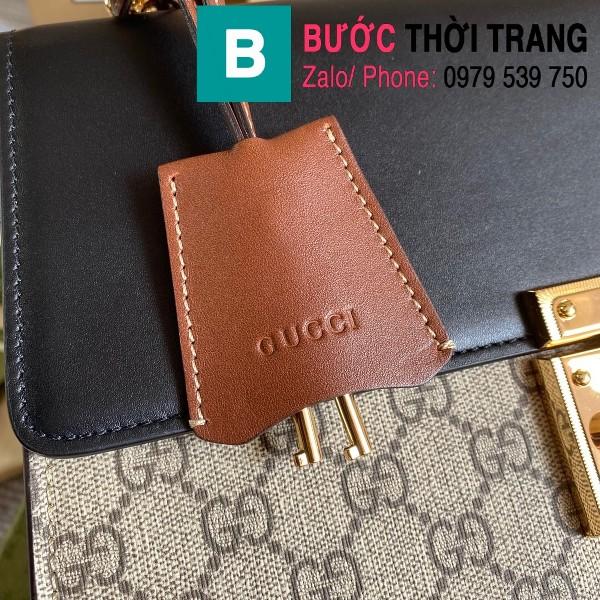 Túi xách Gucci Tian Padlock Shoulder bag siêu cấp màu be đen size 30cm - 409486