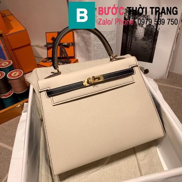 Túi xách Hermes Kelly bag siêu cấp da epsom màu trắng quai đen size 25cm