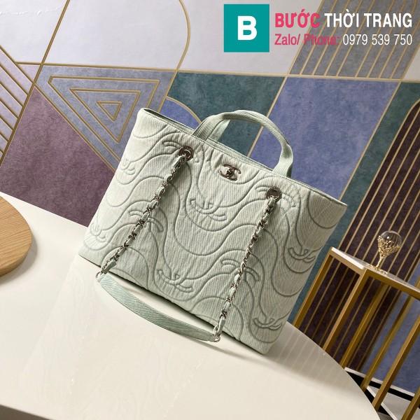 Túi xách Chanel siêu cấp da bê màu xám size 39cm - AS2366