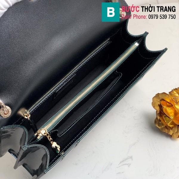 Túi xách Bvlgari Seventi forever siêu cấp da bóng màu xanh size 27.5 cm