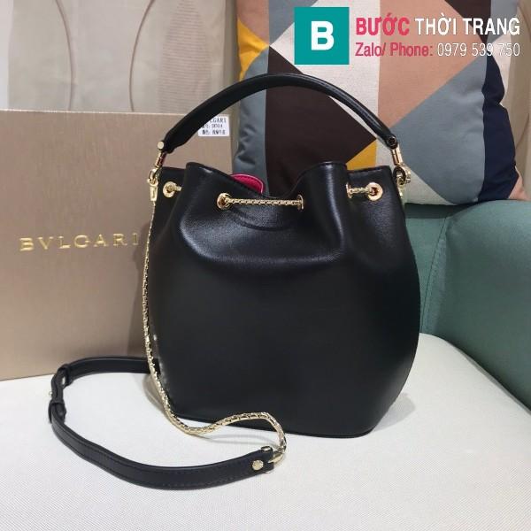 Túi Bvlgari Serventi Forever Bucket bag siêu cấp da bê màu đen size 16cm - B287641
