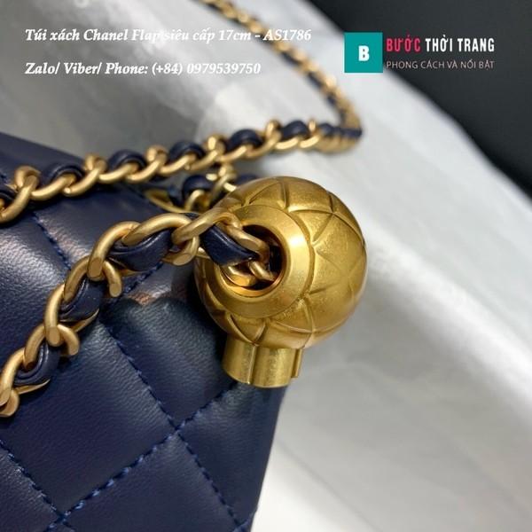 Túi Xách Chanel Flap Bag siêu cấp da cừu màu xanh đen size 17cm - AS1786