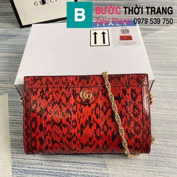 Túi xách Gucci Ophidia Small Shoulder siêu cấp da trăn màu đỏ đen size 26cm - 503877
