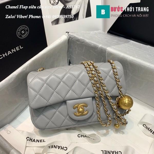 Túi xách Chanel Flap Bag siêu cấp da cừu màu ghi size 20cm - AS1787
