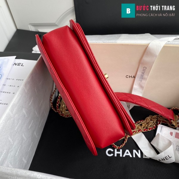 Túi xách Chanel Woke Classic Fap siêu cấp màu đỏ da cừu size 21 cm - AS2052