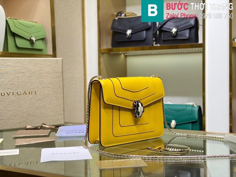 Túi xách Bvlgari serventi forever siêu cấp da bê màu vàng size 20 cm