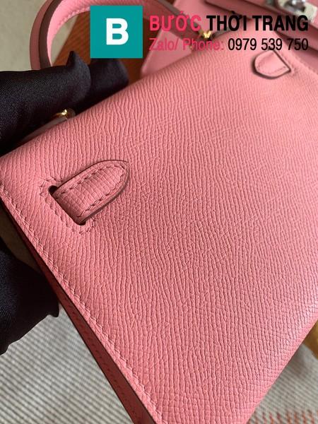 Túi xách Hermes Kelly mini siêu cấp da epsom màu hồng nhạt size 19.5cm