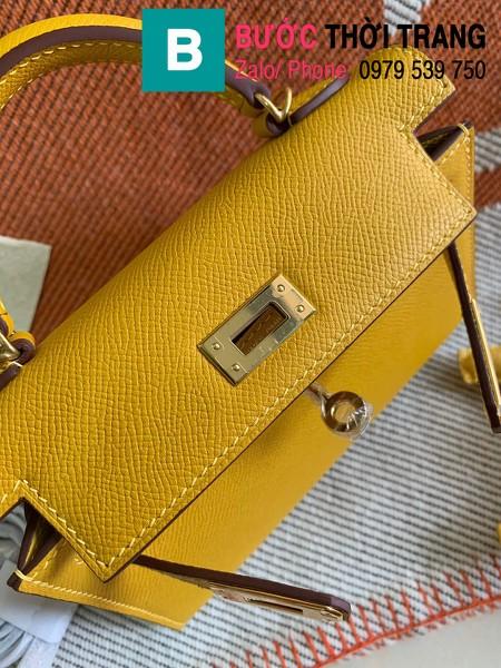 Túi xách Hermes Kelly mini siêu cấp da epsom màu vàng size 19.5cm