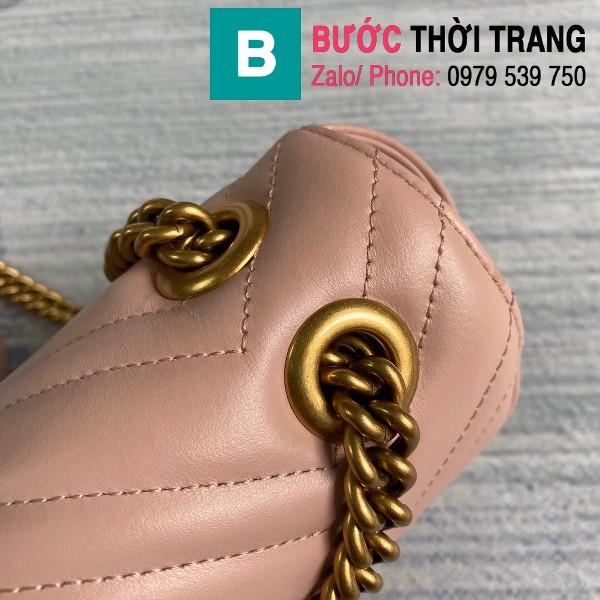 Túi xách Gucci Marmont matelasé mini bag siêu cấp màu hồng size 22cm - 446744