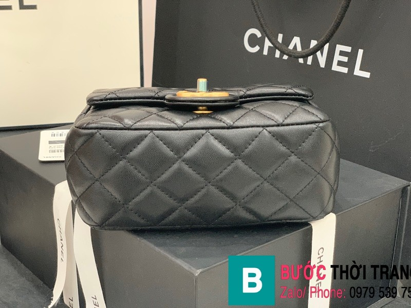 Túi đeo chéo Chanel Flap Bag siêu cấp da cừu màu đen size 18cm AS2379