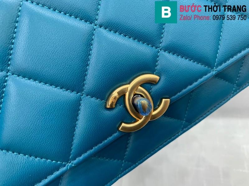 Túi xách Chanel Lambskin Classic Flap Bag siêu cấp da cừu màu xanh size 23cm - AS9916