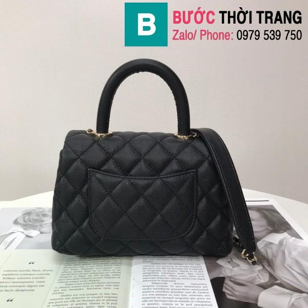 Túi xách Chanel Coco Handle Mini bag siêu cấp da bê màu đen size 19cm - AS2215
