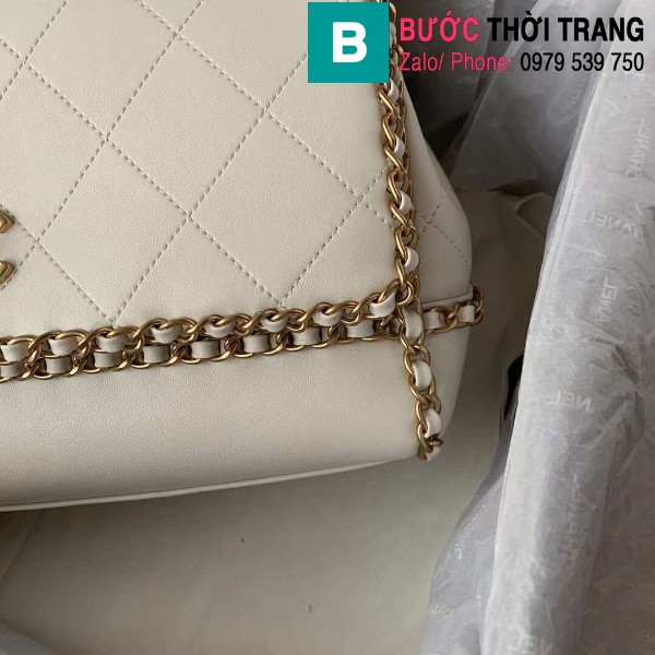 Túi đeo chéo Chanel siêu cấp da bê viền xích màu trắng size 28cm - AS2396