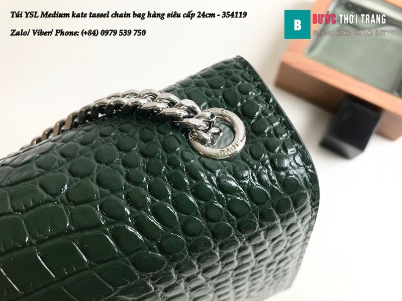 Túi YSL Medium kate tassel chain màu xanh rêu dập vân cá sấu 24cm - 354119