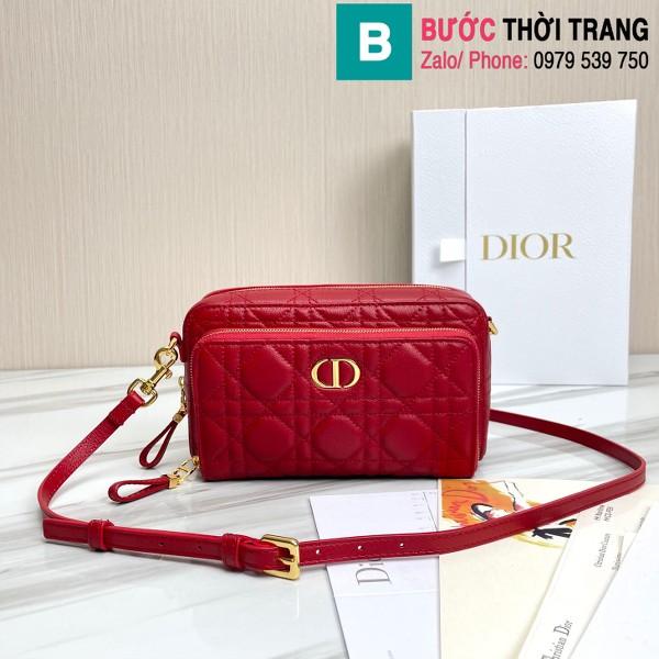 Túi xách Dior caro bag siêu cấp da bê màu đỏ size 19cm