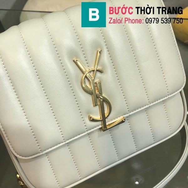 Túi xách YSL Saint Laurent Vicky bag siêu cấp da cừu non màu trắng size 20.5cm - 532612