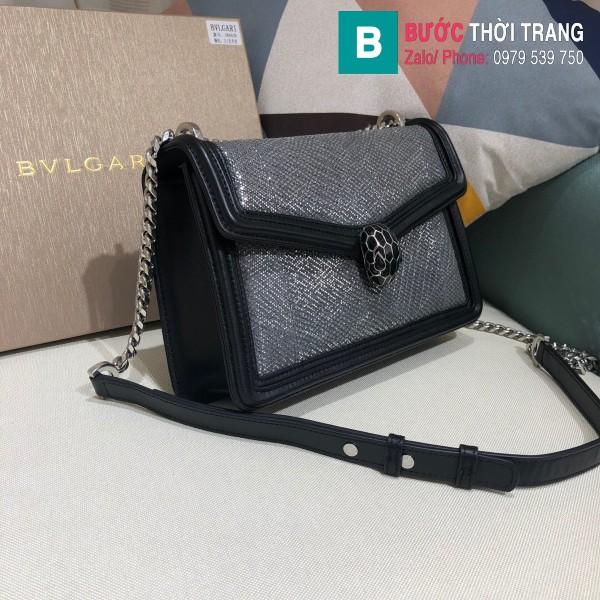 Túi xách Bvlgari Seventi Diamond Blast siêu cấp da bao màu đen size 24 cm
