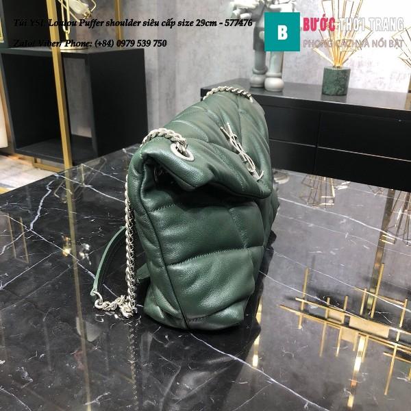 Túi YSL Loulou Puffer shoulder siêu cấp màu xanh rêu đậm size 29cm - 577476