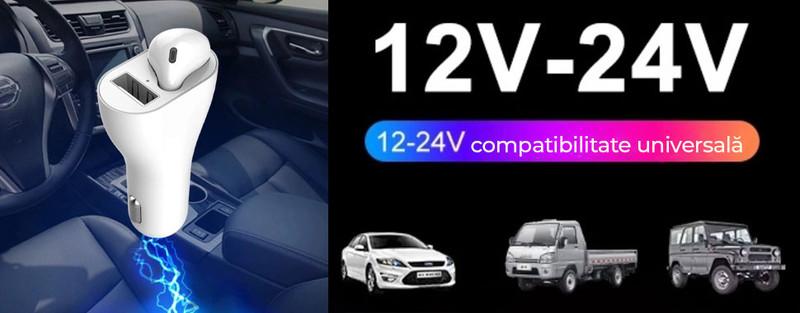 Casca Bluetooth cu Incarcator de masina LUMAUDiO® 2F - Simplu si util