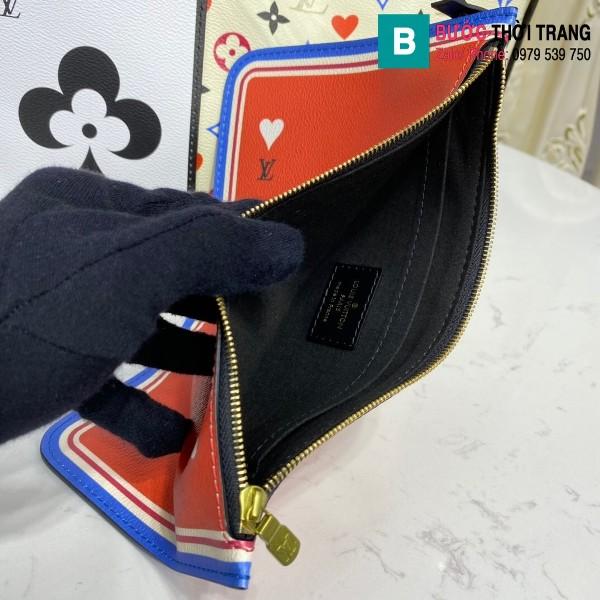 Túi xách Louis Vuitton Game on Neverfull MM siêu cấp màu trắng size 31 cm - M57462