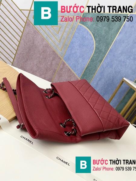 Túi đeo chéo Chanel Bag siêu cấp da cừu màu đỏ đô size 32cm - 7095