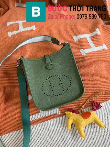 Túi xách Hermes Evelyne mini bag siêu cấp da togo màu rêu size 17cm