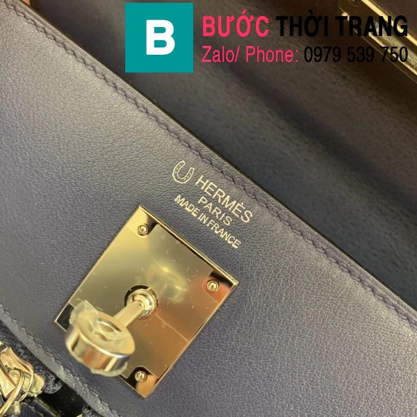 Túi xách Hermes Kelly Lakis Bag siêu cấp da bê màu xanh size 32cm