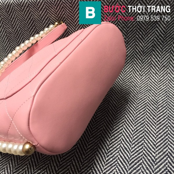 Túi đeo chéo Chanel siêu cấp da cừu màu hồng size 19cm - AS2503