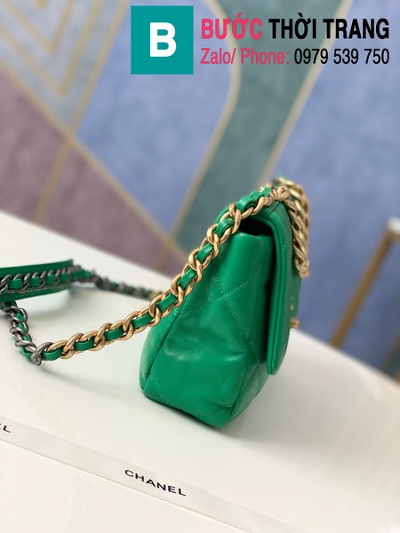 Túi xách Chanel 19 flap bag siêu cấp da bê màu xanh két size 26 cm - 1160