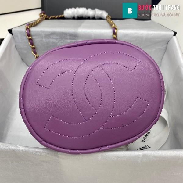 Túi xách Chanel Drawstring Bag siêu cấp màu tím ngà size 20 cm da cừu