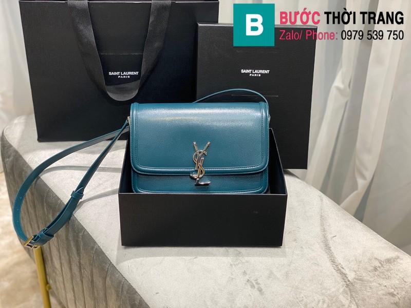 Túi xách YSL Solferino box Sant Laurent siêu cấp da bê màu xanh size 23cm - 634305