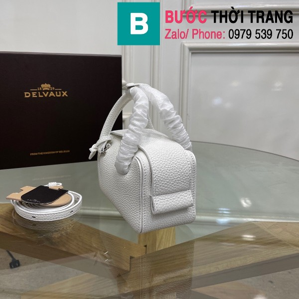 Túi xách Delvaux Coolbox nano siêu cấp da taurillon màu trắng size 16.5cm