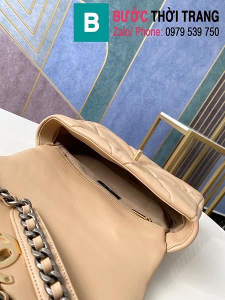 Túi xách Chanel 19 flap bag siêu cấp da bê màu bò lợt size 26 cm - 1160