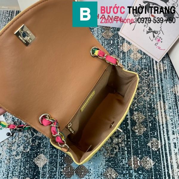 Túi đeo chéo Chanel Mini Bag siêu cấp da bê màu vàng size 19.5cm - AS2411