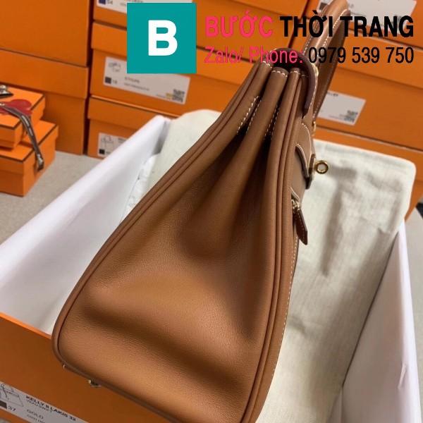 Túi xách Hermes Kelly Lakis Bag siêu cấp da bê màu nâu size 32cm