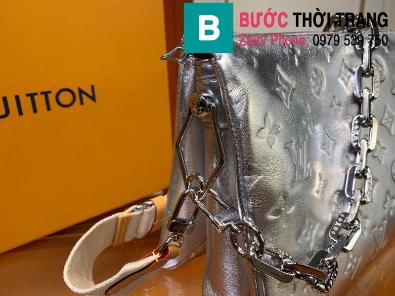 Túi xách LV Louis Vuitton Coussin siêu cấp da bê màu bạc size 26cm - M57790