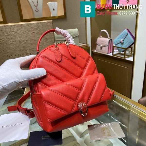 Túi Bvlgari Serventi Cabochon ba lô siêu cấp da bê màu đỏ size 18cm