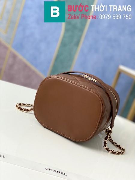 Túi xách Chanel Vantity Case siêu cấp da lambkin màu nâu size 24 cm - 1626